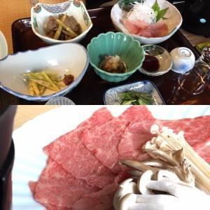 三の膳までついた山菜を含むイワナ、米沢牛のしゃぶしゃぶのお料理♪