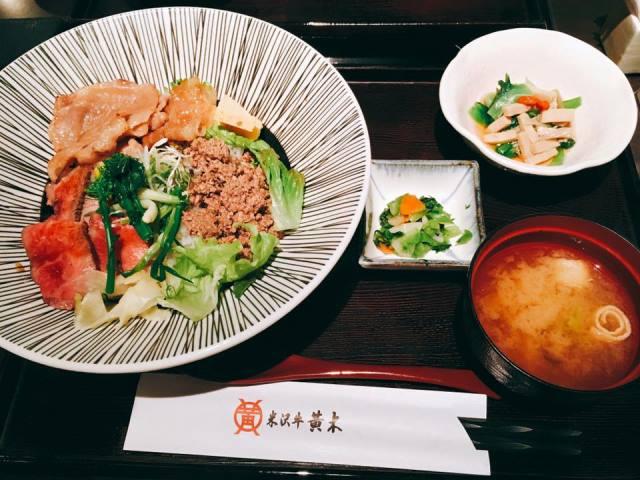 米沢牛黄木 東京店の三色丼がランチにおすすめ♪ー黒塀横丁ランチメニューよりー
