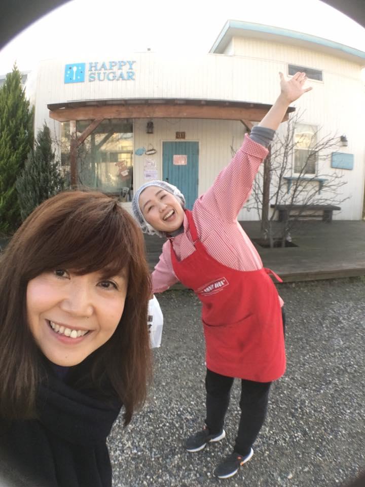 新潟県村上市坂町駅前にあるハッピーシュガー、ウチコちゃんとパチリ☆