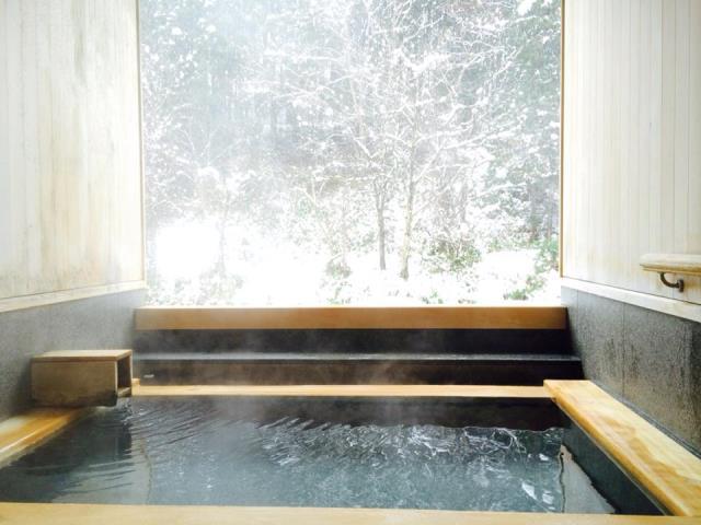 今朝の貸切露天風呂の様子