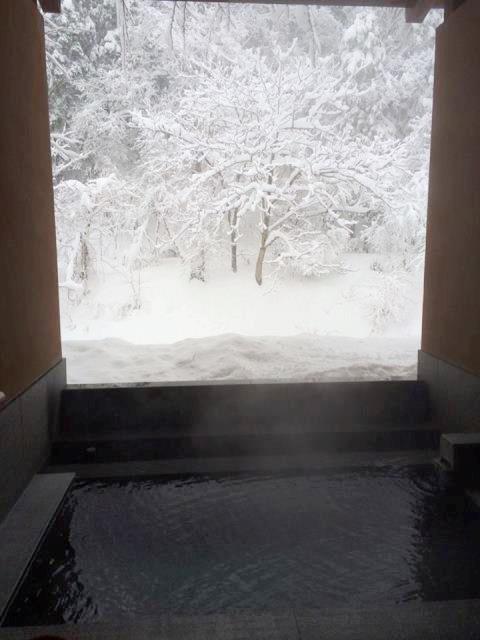 昨日の貸切露天風呂の様子。完全に雪見はOK!