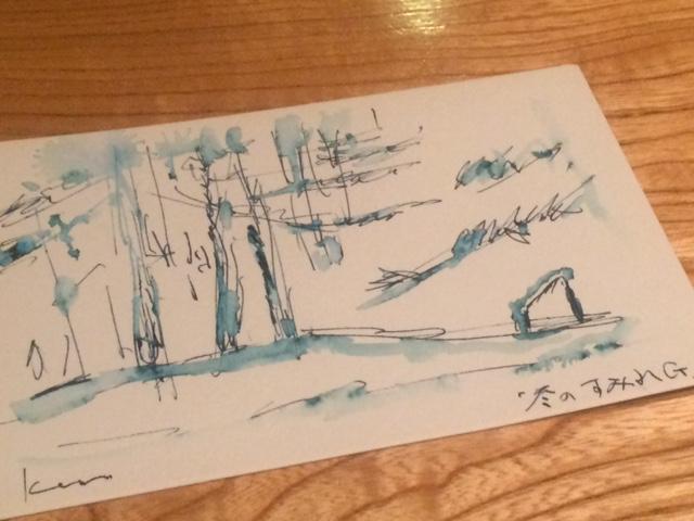 以前Kenさんが描いてくれた冬のすみれガーデン