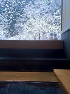 貸切露天風呂に作られていた雪だるま