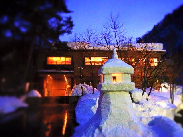 米沢の温泉旅館で 楽しい冬の思い出作ってほしい♪ー雪灯篭編ー